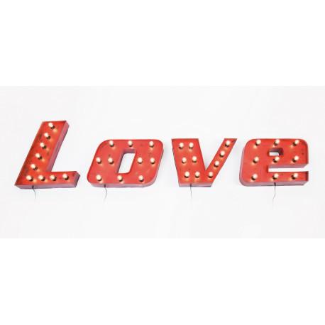 Décorations lumineuses Love vintage (set de 4)